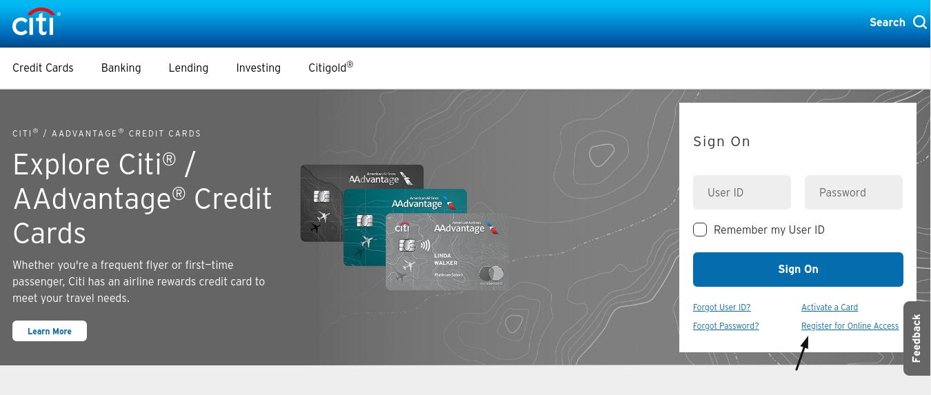 register my citibank credit card online