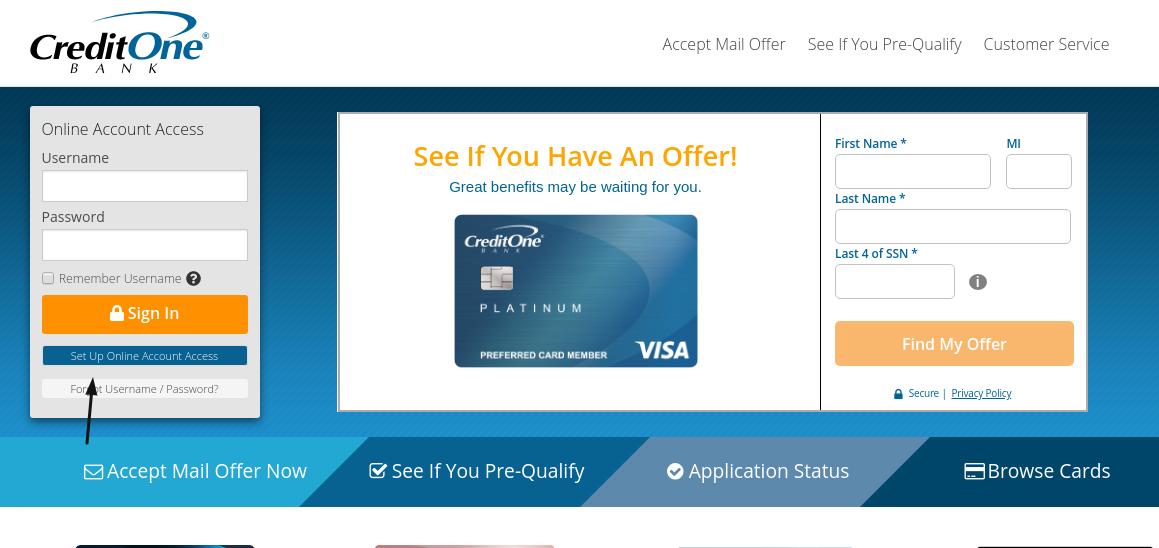 Credit One Bank Set Up Account
