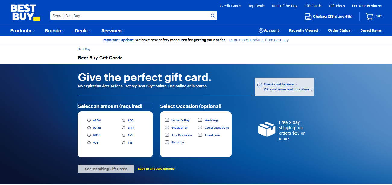 Purchase Best Buy Gift Card