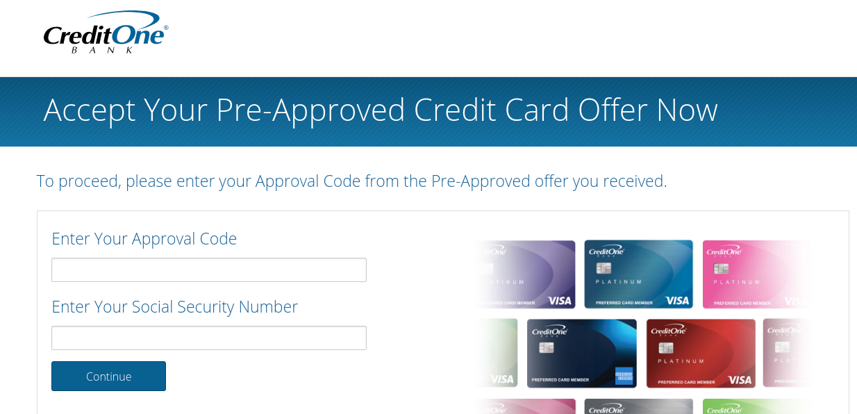 Accept your Credit One Bank Pre Approval
