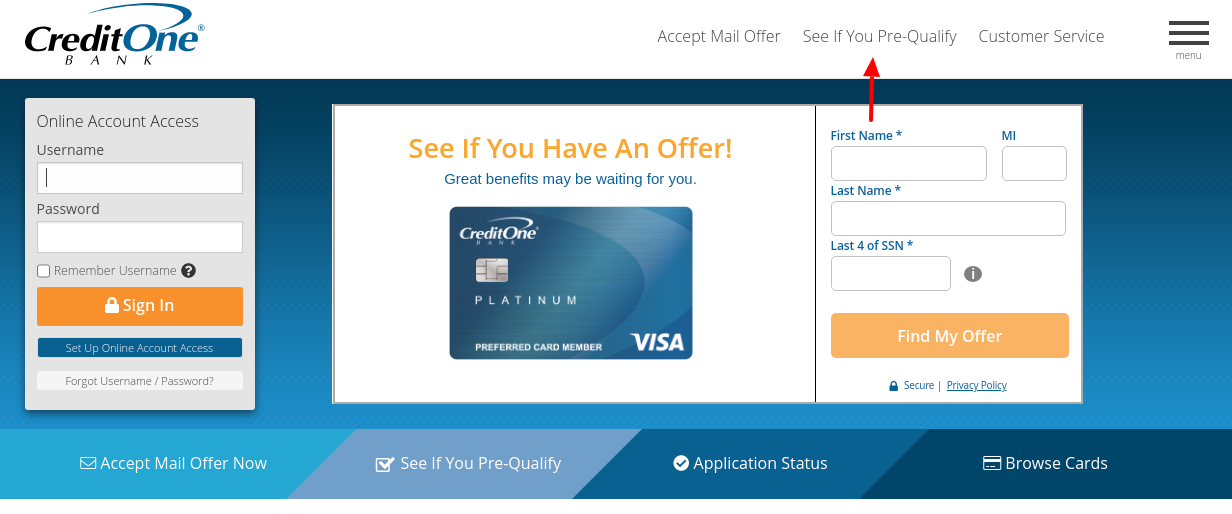 Credit One Bank Credit Card See Pre Qulifiy