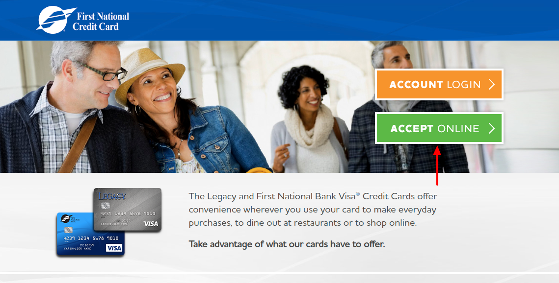 First National Bank Credit Card Accept Online