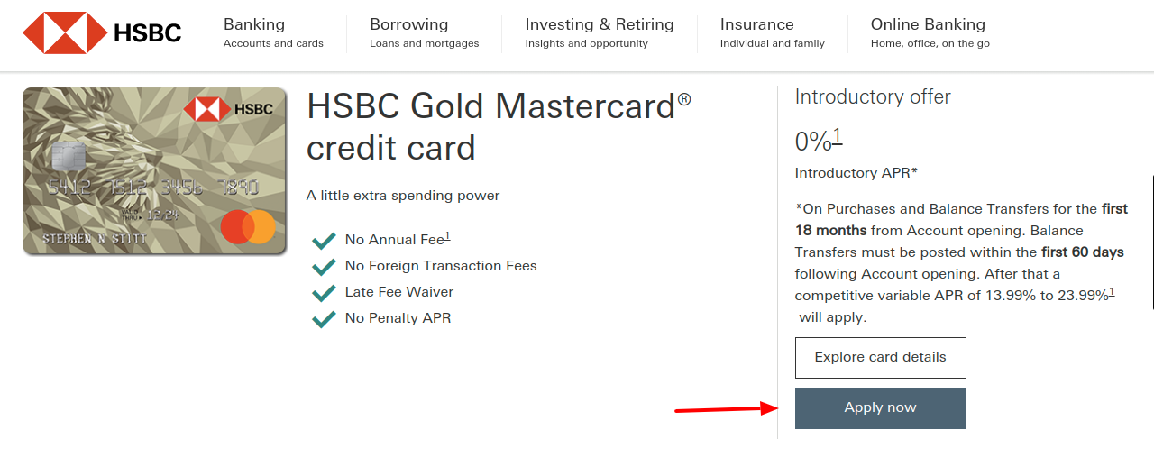 HSBC Gold MasterCard Apply
