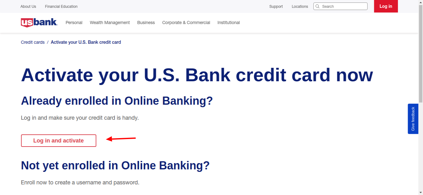US Bank credit card Activate