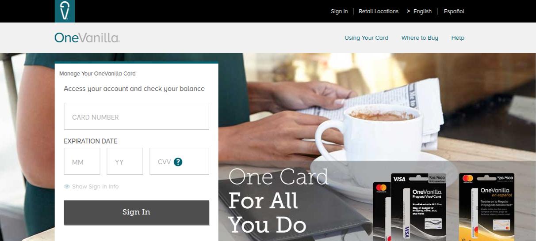 OneVanilla Prepaid Card Login