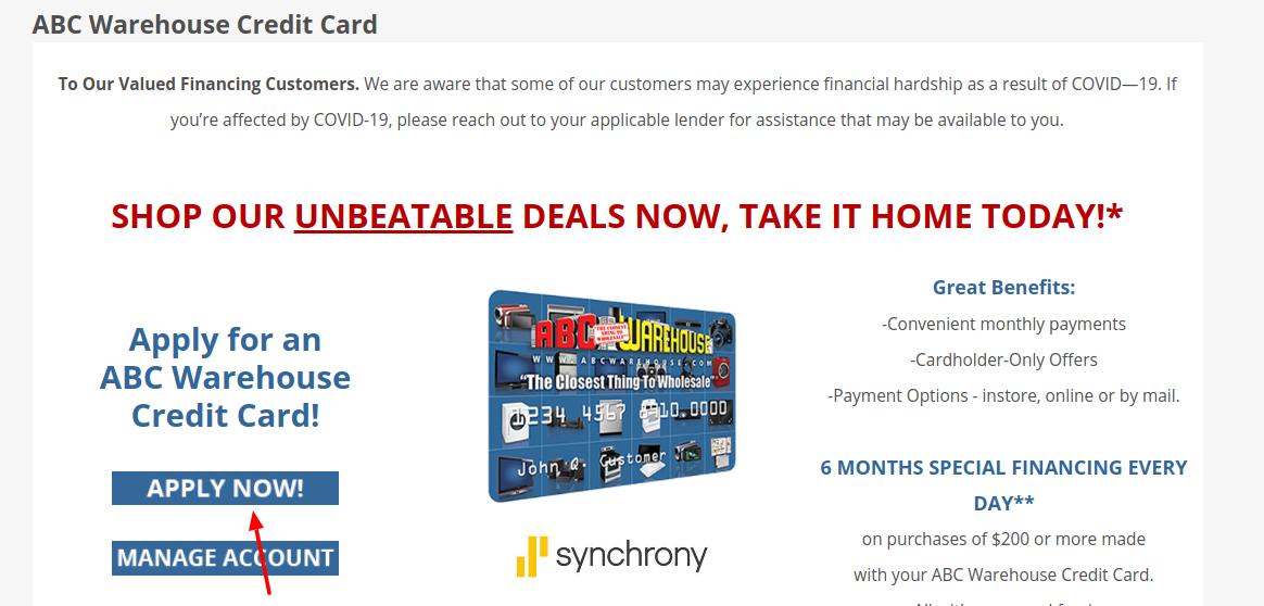 ABC Warehouse Credit Card Apply