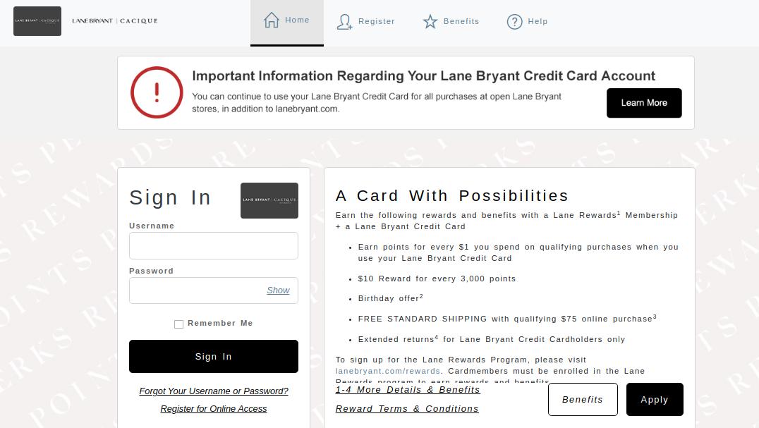 Lane Bryant Credit Card Login