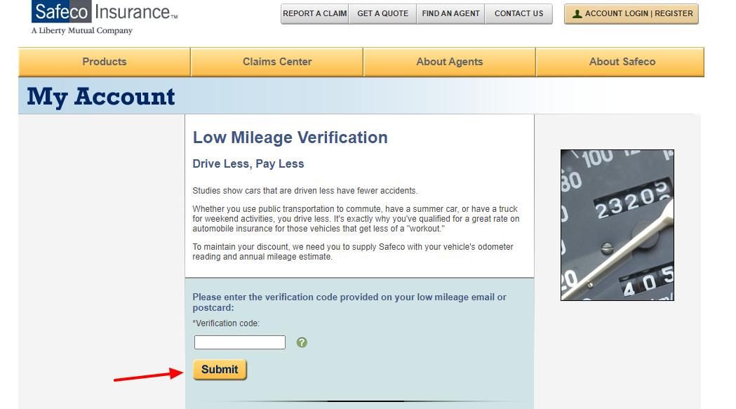 safeco low mileage verification